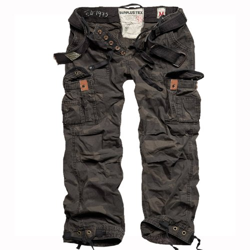 Surplus Premium Vintage Mens Combats Pants Trousers with Belt Work Black Camo