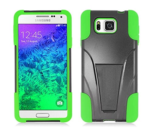 Samsung Galaxy Alpha G850 (At&T) - Black & Neon Green Dual Layer Impact Defender Shockproof Armor Kickstand Cover Case + Atom Led Keychain Light