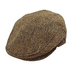 John Hanly & Co. Irish Tweed Flat Cap - Brown Herringbone - Made in Ireland