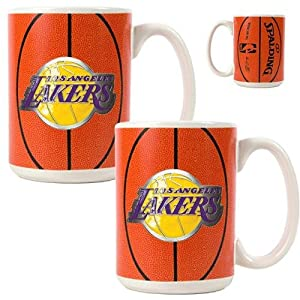 NBA Los Angeles Lakers Two Piece Ceramic Gameball Mug Set - Primary Logo by Great American Products