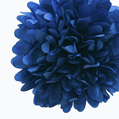 Dress My Cupcake 5-Inch Navy Tissue Paper Pom Poms, Wedding Party Supplies/Wedding Shower Decorations, Set of 8