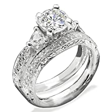 buy Top Grade Pave 3-Stones Simulated Diamond Ring Set Scroll Pattern 925 Silver