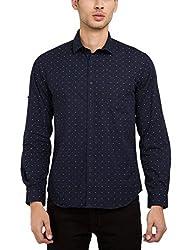 Highlander Men's Casual Shirt (13110001479800_HLSH008997_Medium_Navy Blue)