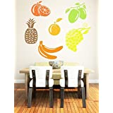 WALLMANTRA Set Of 6 Fruits Wall Decal Wall Sticker (Size: 18x18 Inches Each Fruit (Approx))