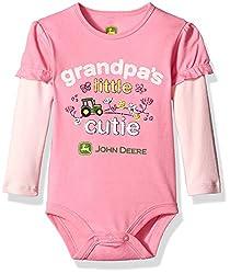 John Deere Girls' Grandpas Little Cutie, Medium Pink/Light Pink, 3-6 Months
