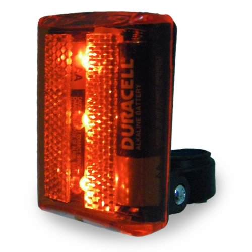 (2-Pack) 3 LED 4 Function Safety Bike Taillight Flasher w/ Attachment