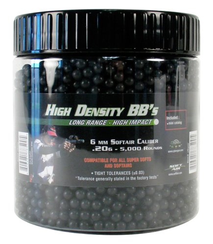 SoftAir 5,000 ct. Jar Hight Density Black Airsoft BBs (6m, 0.20g)