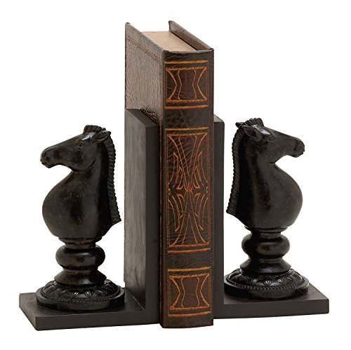 Benzara Exquisite Polystone Chess Bookend Polyresin