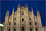 WallsnArt, Architecture Modern Framed Art Work Canvas Gallery Wrap,Italy, Milan Province, Milan. Milan Cathedral, Evening.