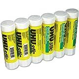 UHU 99835 Glue Stick, 1.41 oz, Pack of 6, Clear/ White