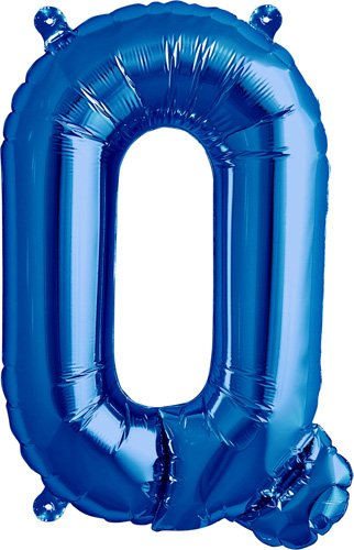 16 inch Letter Q - Blue Air-Filled Foil Balloon