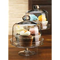 Clear Mini Domed Set of 2 Cake Stands