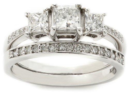 Kobelli 1-1/6 Cttw Three Stone Princess Diamond Wedding Set Rings