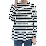 Goodid ボーダーTシャツ クルーネク カジュアル ゆったり 長袖 メンズ(M,ブラック)