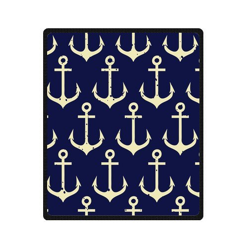 Personalized Fashion Retro Seamless Pattern Of Nautical Anchor Picture Fleece Blanket 50 X 60