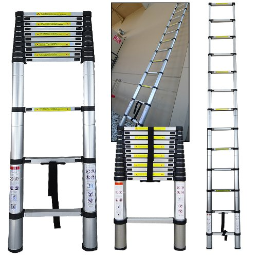 12.5 Ft Aluminum Telescopic Telescoping Ladder Extension Extend Loft En131 Certified Sturdy Steps Thumbs Release