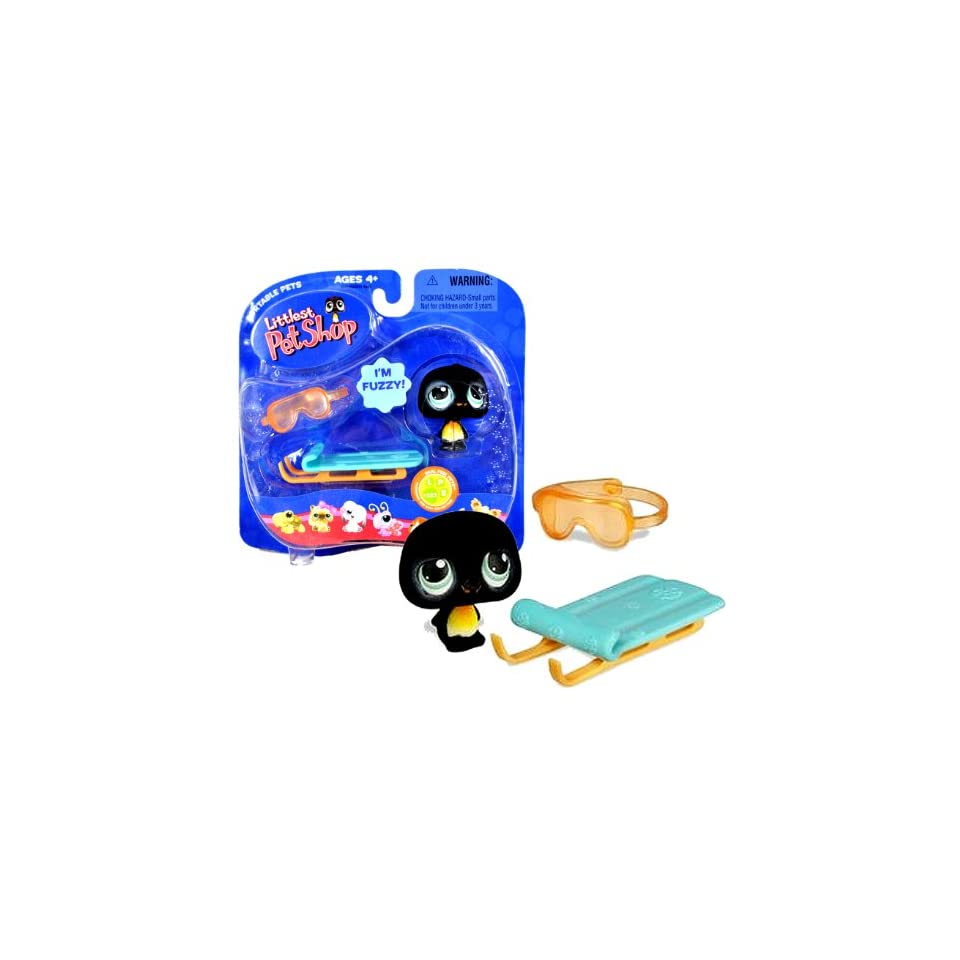 Hasbro Year 2007 Littlest Pet Shop Portable Pets Real Feel Pets Series Bobble Head Pet Figure Set #333   Black Penguin with Snow Sled and Goggle (63419