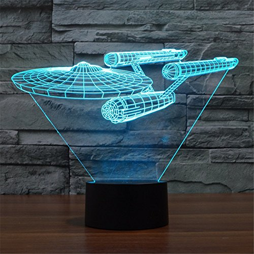 SmartEra-Star-Trek-Battleship-3D-Optische-Tuschung-Mehrfarbig-ndern-Berhren-Sie-Botton-Schreibtischlampe-Tischleuchte