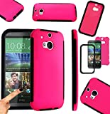 Magic Global Gadgets - Pink Front & Back Full Body Protector Hard Armour Hybrid Shock Proof Case Cover For HTC One 2 / HTC One M8 With Built In Screen Protector & Mini Stylus Pen