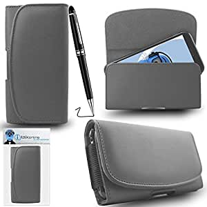 iTALKonline HTC One E9+ E9 Plus Grey PREMIUM PU Leather Horizontal Executive Side Pouch Case Cover Holster with Belt Loop Clip and Magnetic Closure Includes PRO Captive Touch Tip Stylus Pen with Rubber Tip with Roller Ball Pen