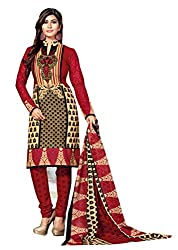 Aarti Apparels Women's Cotton Unstitched Dress Material _MAHARANI-11_Red and Beige