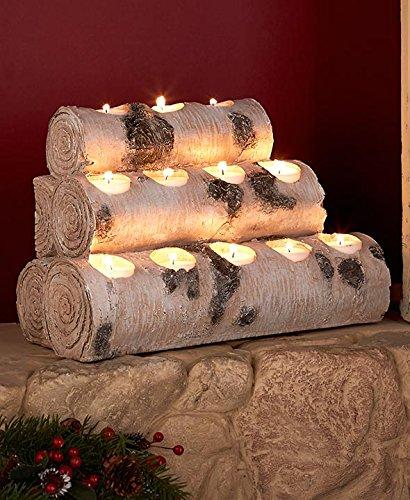 12-Tea Light Candleholder Log