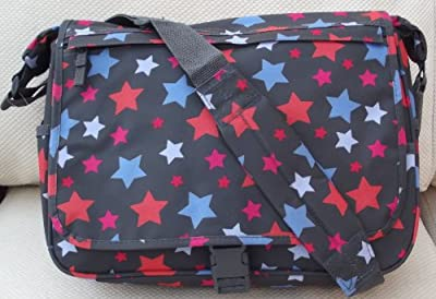 Stars design A4 folder Size Courier or sling style messenger bag Slate or Grey travel cabin or hand luggage school