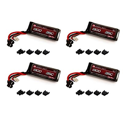 Venom 35C 3S 1300mAh 11.1V LiPo Battery with Universal Plug (EC3/Deans/Traxxas/Tamiya) x4 Packs