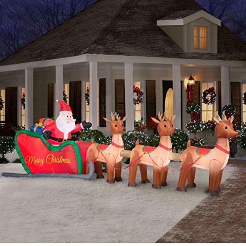 Santa Claus Lawn Decorations: Outdoor Christmas Large Decorations With Lighted Lawn