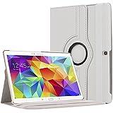 """Bingsale 360 à Housse en cuir pour Tablette tactile Samsung Galaxy Tab S 10,5"""" SM-T800 SM-T805 avec rabat/stand de positionnement support et le sort de veille (samsung galaxy tab s 10.5, blanc)"""