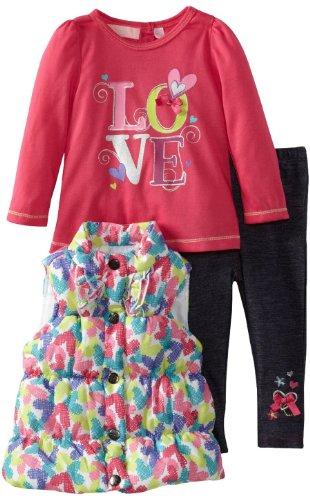 Kids Headquarters Toddler Girls 3 Piece Puffy Vest Pink Top Jeggings Pants Set front-967735
