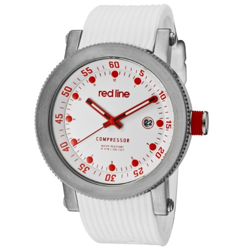 red line Men's RL-18000-02RD-WHT-ST Compressor White Dial Silicone Watch