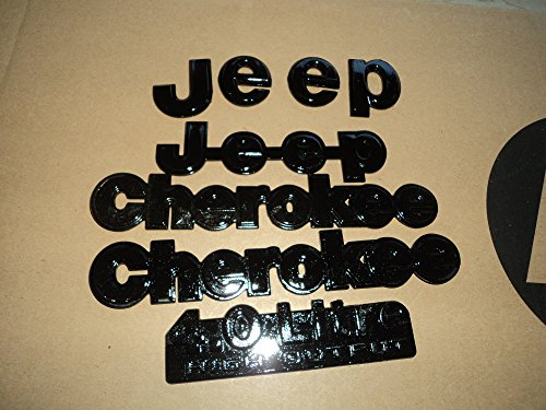 93-96 Jeep Cherokee 4.0Litre High Output Front Grille Rear Trunk Painted Black USED Emblem Logo Badge Set of 5 Decals LOGO (Cherokee Emblem compare prices)