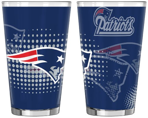 NFL New England Patriots Half Tone Pint Glass, 16-ounce, 2-Pack (New England Patriots Party Ware compare prices)