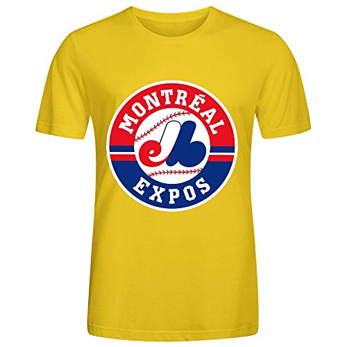 MLB Montreal Expos Team Logo Crew Neck Men Funny Sports T Shirts Yellow (Miami Dolphins Thermal Shirt compare prices)