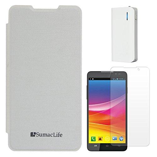 SumacLife Premium Flip Cover Case For Micromax Canvas Nitro A310/A311 (White) + 6000 MAh PowerBank + Matte Screen