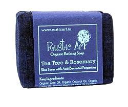 Rustic Art Organic Tea Tree and Rosemary Soap, 100g