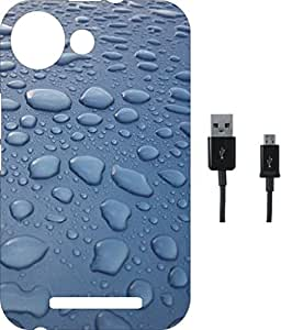 BKDT Marketing Printed Soft Back Cover Combo for Micromax Canvas Spark 2 Plus Q350 With Charging Cable