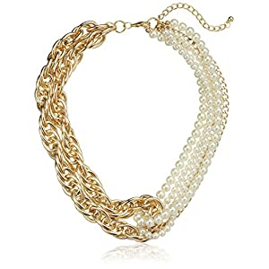 Twisted Mixed Chain and Pearl Looped Necklace, 18