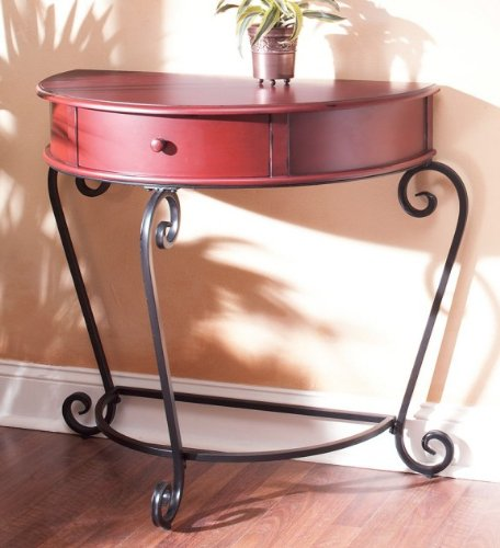 Cheap Half Moon Console Hall Table with Scroll Metal Legs in Tuscan Red Finish (AZ00-38926×21290)