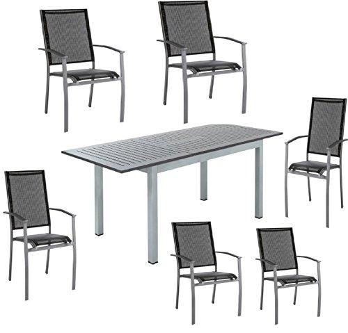 Deluxe Home Classic HAVERSHAM mesa de comedor extensible Garden Party al aire libre mesa–gris y negro con 6Cómodo negro sillas apilables