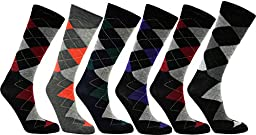 Royal Mens Dress Casual Argyle Socks Cotton Blend Assortment. 12 Pair Size 10-13 HS389