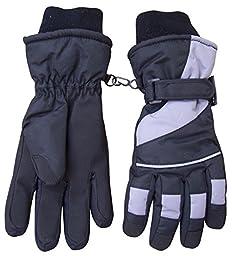 N\'Ice Caps Kids Bulky Thinsulate and Waterproof Winter Ski Glove With Ridges (13-15yrs, Black/Grey)