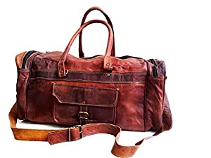 "20"" Men's Genuine Leather Duffle Gym Large Travel Weekend Sports Luggage Bag"