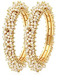 Valentine Gifts : Zeneme 18k Gold Plated Traditional Jewellery Fancy Pearl Bangles For Women And Girls | Valentine...
