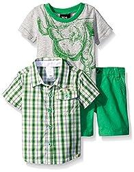 Boys Rock Baby 3 Pc Short Set Plaid Dino, Green, 18 Months