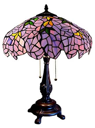 Tiffany Style Stained Glass Table Desk Lamp Wisteria T1628