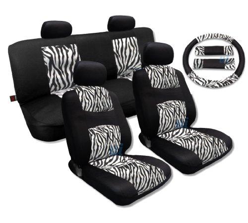 White Zebra Accent Fur Black Mesh Cool Breeze Animal Print Seat Cover Set Fit For Hyundai Elantra (Black Zebra Print Seat Covers compare prices)