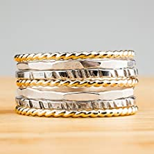 buy Mixed Metal Stacking Rings - Set Of 7 Gold And Silver Stack Rings In Oxidized Sterling Silver And 14K Gold Fill - Classic Skinny Ring Bands