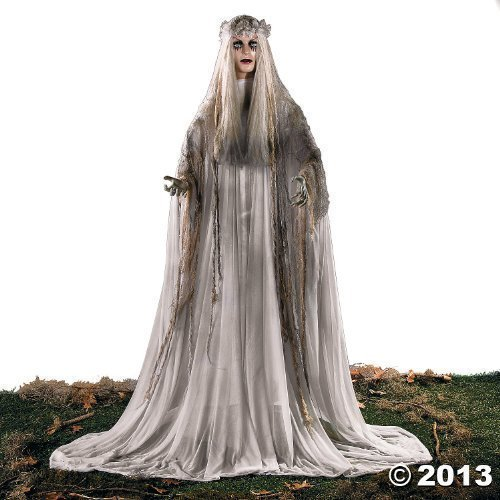 Lifesize Haunting Bewitching Beauty Gruesome Standing Ghost Girl Bride With Flashing Red Eyes Sppoky Scary Halloween Prop Decor